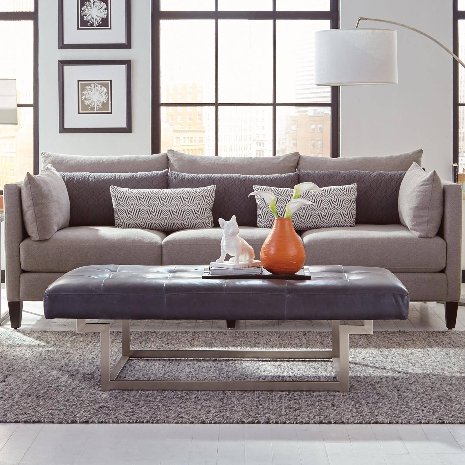 Windsor Transitional Estate Sofa With Tuxedo Arms By