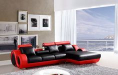 Adorn Homez Oscar Fabric 3 Seater Sofa For Home & Living Roon (Black & Red)