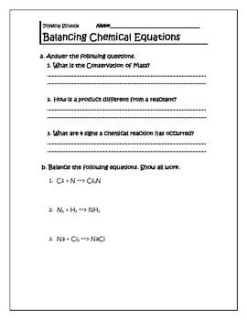 Chemical equations warm up plus exit ticket chemical reactions chemical equations warm up plus exit ticket fandeluxe Image collections