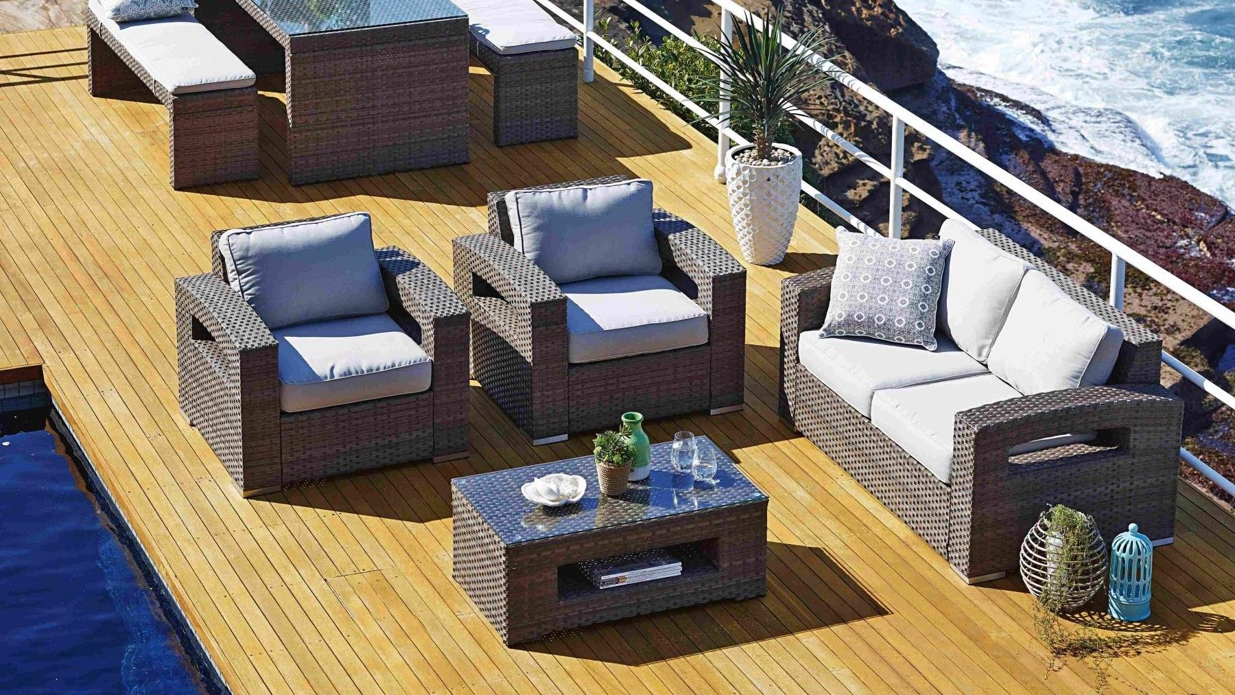 Harvey Norman: Hampton 4 Piece Outdoor Lounge Suite 2 x armchairs 900x850, sofa 1520x850