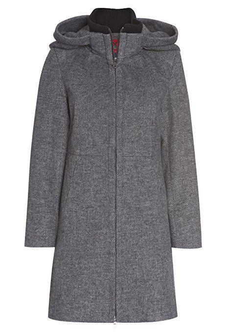 aaba33a7033b52 LIVRE Fashion Mantel mit großer Kapuze Jacke Parka Strick Wolle Outdoor  Herbst Winter dunkelblau