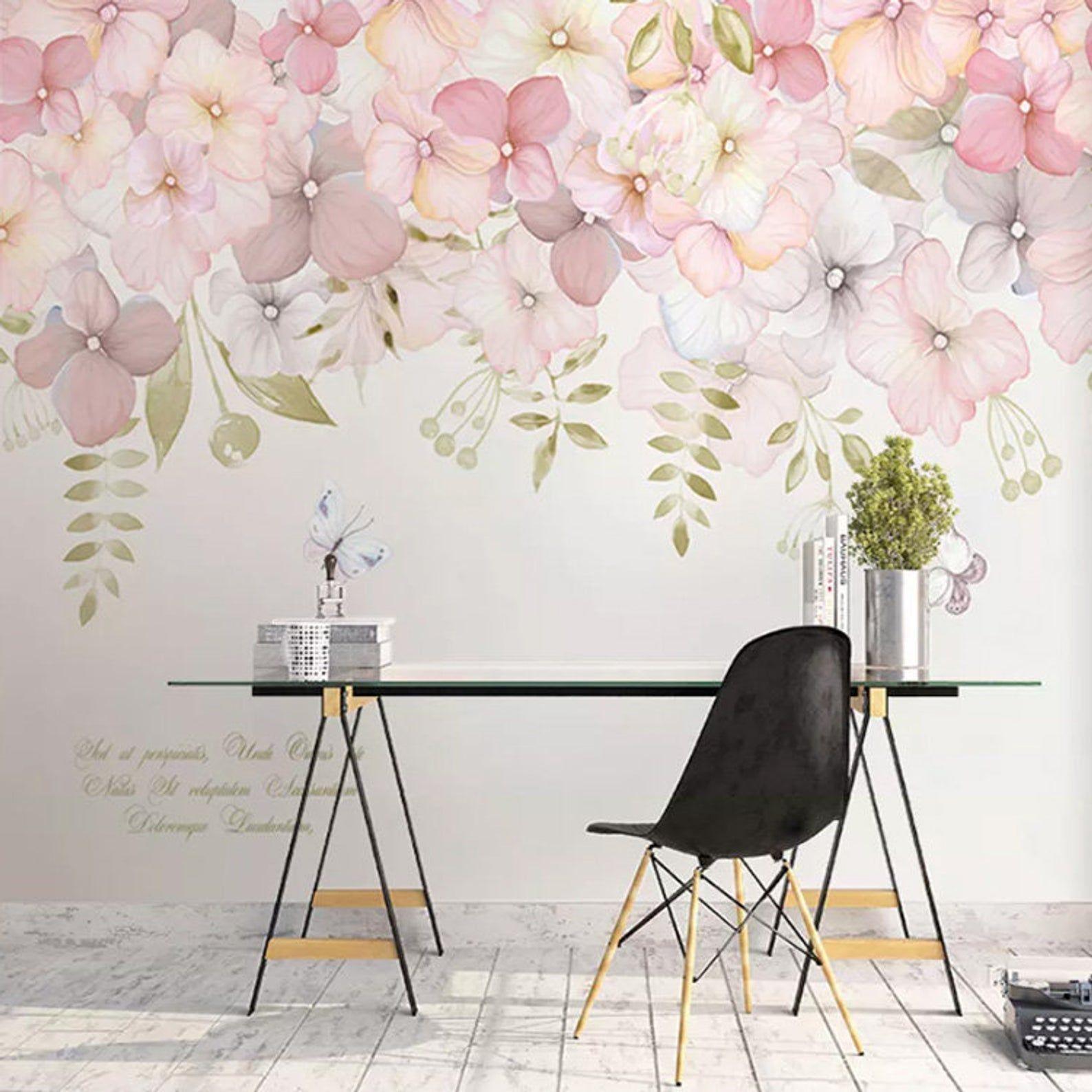 Watercolor Pink Flowers Wallpaper Wall Mural, Hanging