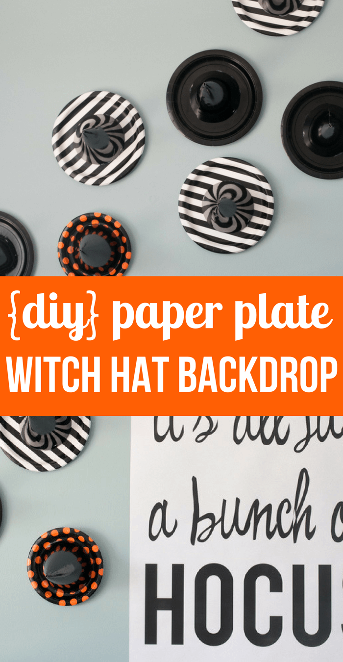 Simple Diy Paper Plate Witch Hat Backdrop Halloween Party Decorations Halloween Tablescap Halloween Party Planning Halloween Party Printables Halloween Party