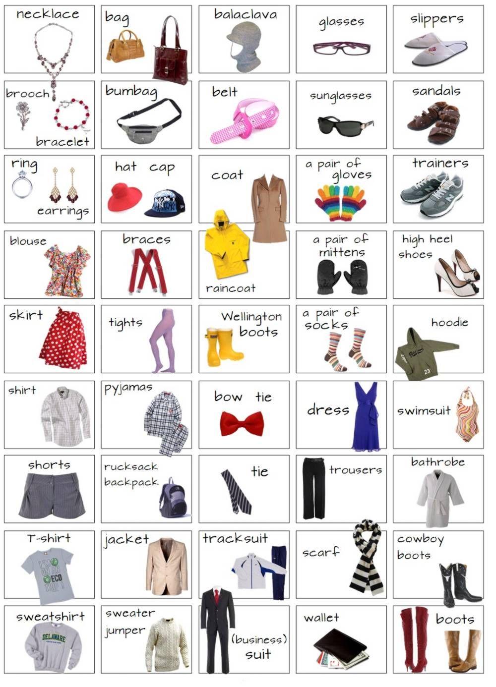Resultado De Imagen Para Vocabulario En Ingles Ropa Y Accesorios