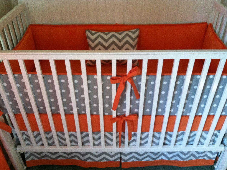 Gray and orange fabric for nursery crib bedding set gray for Boy nursery fabric