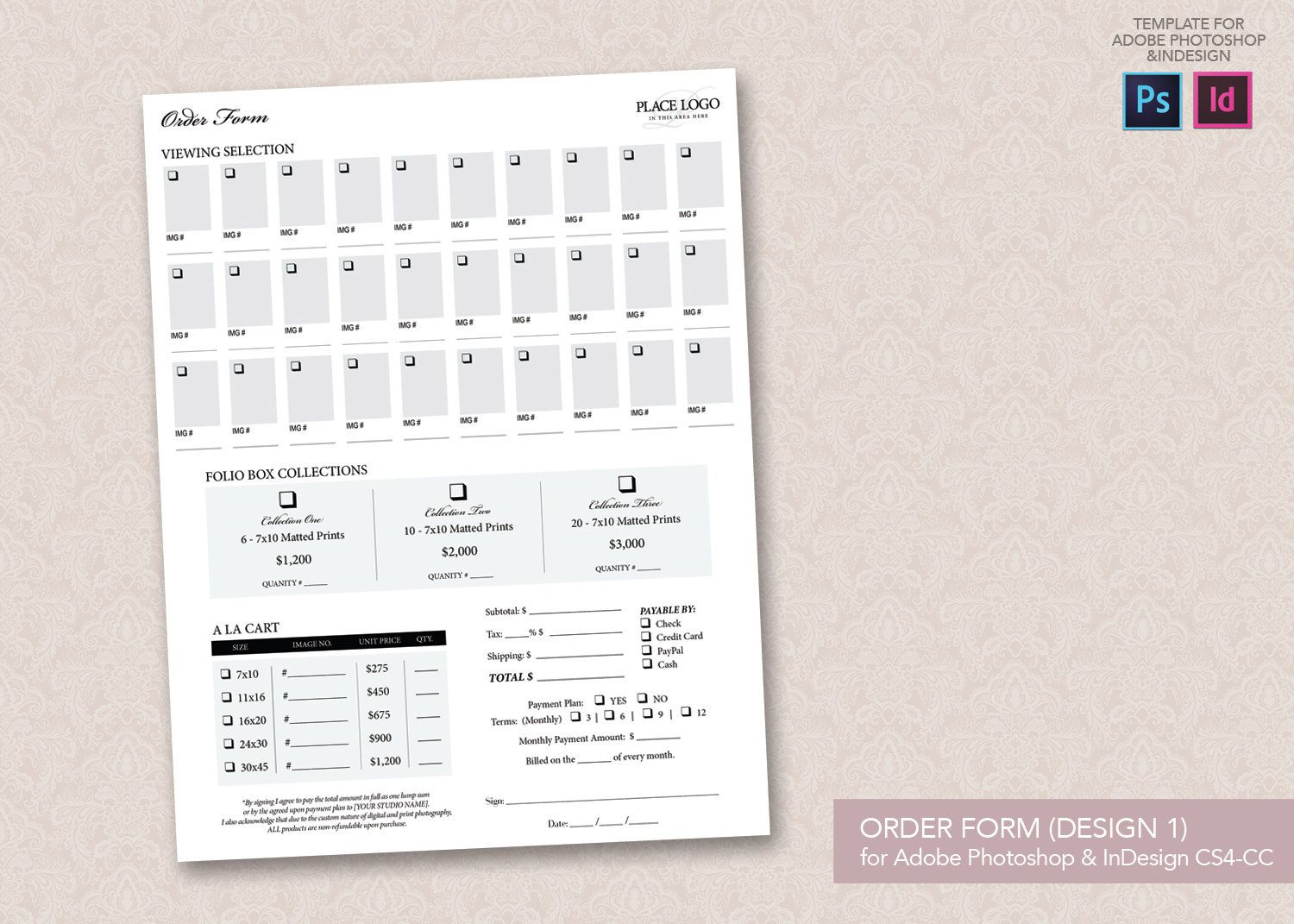 Portrait Order Forms Design 1 And 2 Templates For Adobe Idcs4 Cc