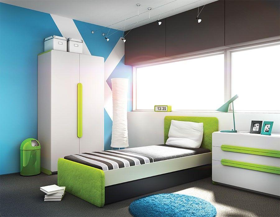Chambre adolescent complète vert et gris design HUGO | CHAMBRE ...