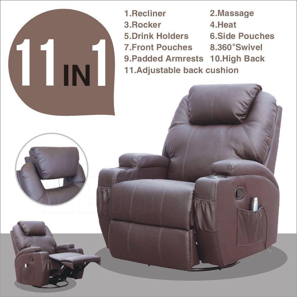 Brown Mage Recliner Sofa Chair Ergonomic Lounge Swivel Heated W Control Zety