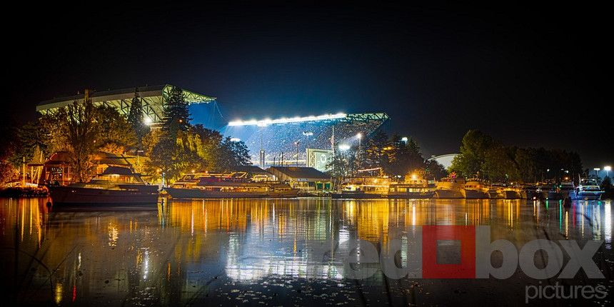 Husky Stadium at night