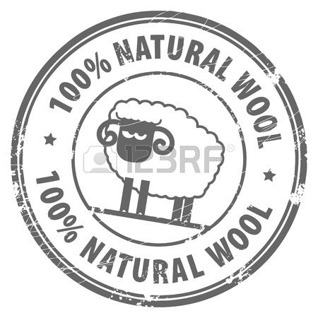 Abstract grunge rubber stamp with small sheep and the words 100  Natural Wool written inside Stock Vector
