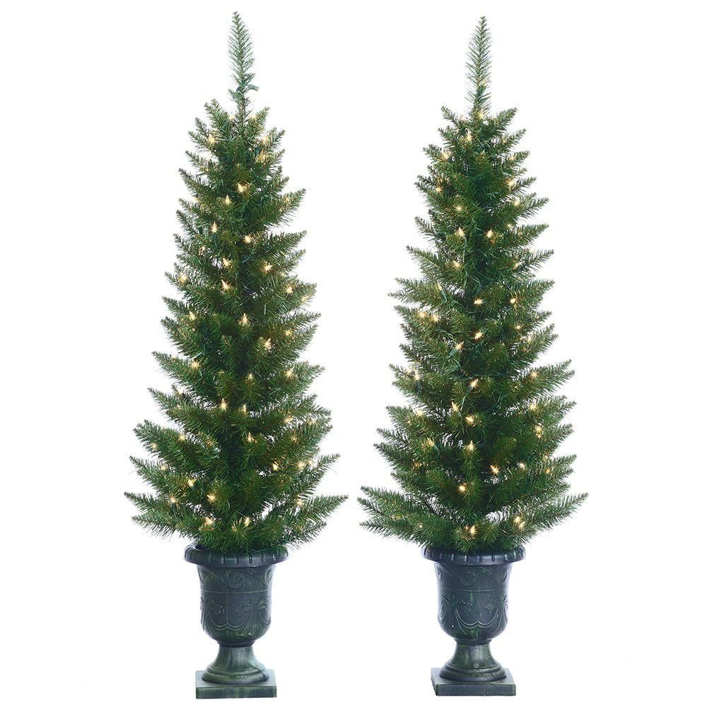 Sterling 4 Ft Pre Lit Cedar Pine Artificial Christmas Trees With Clear Lights In Pots Set O Outdoor Christmas Tree Potted Christmas Trees Pine Christmas Tree