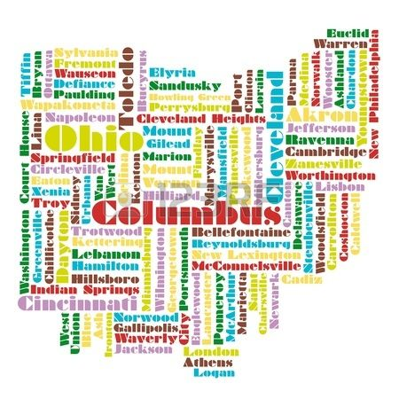 Word Cloud Map Of Ohio State Usa Cleveland Pinterest Word - Us map of ohio