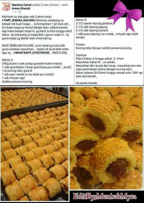 Tart Gulung Nanas Mariana Zainal Cooking Recipes