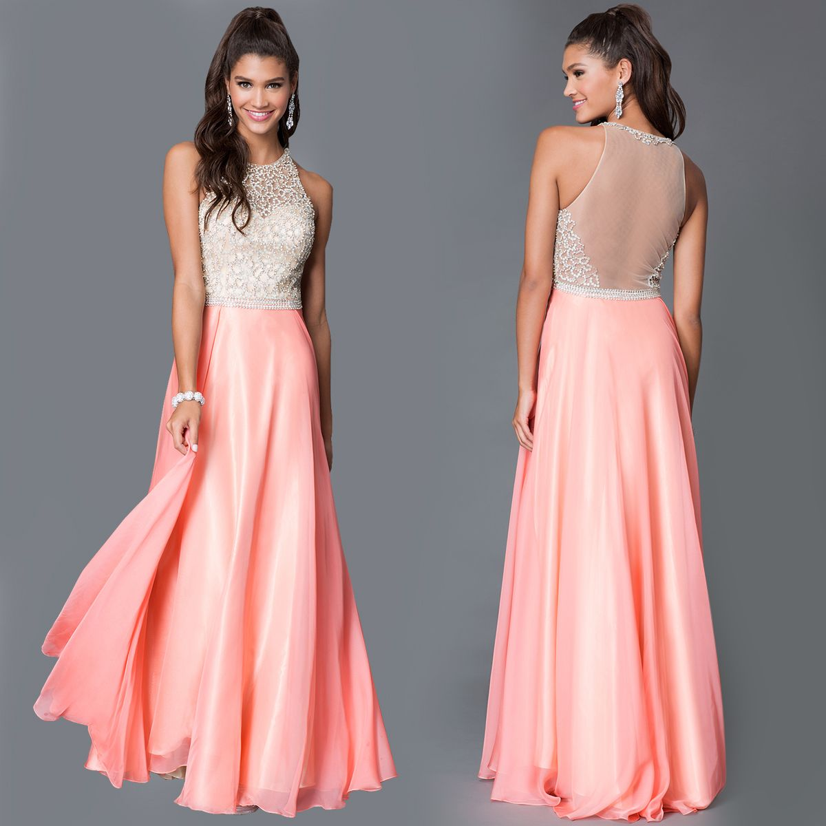 Dave & Johnny Long Coral Dress With Beaded Bodice | Prom 2016 Top ...