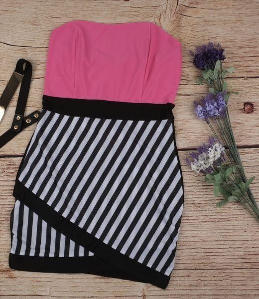 Neonové letní dámské šaty s pruhy růžové – Velikost L Na tento produkt se  vztahuje nejen ef91d97212