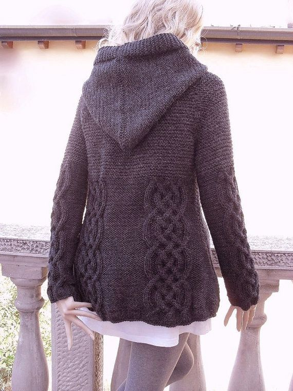 da402b37dee87 Knit Sweater Womens Cable Knit Jacket Cardigan Dark Grey Hooded Coat ...