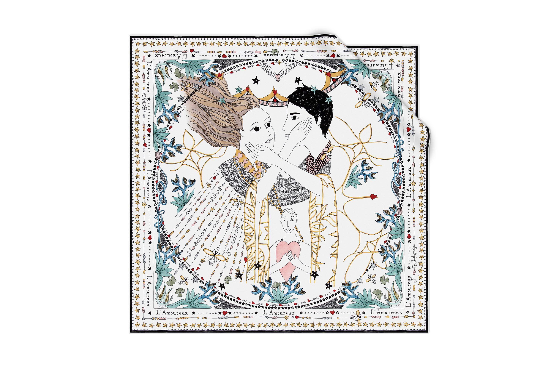 1560276c39 White silk square - Dior - L'AMOUREUX | 占卜 | Silk scarves, Dior et ...