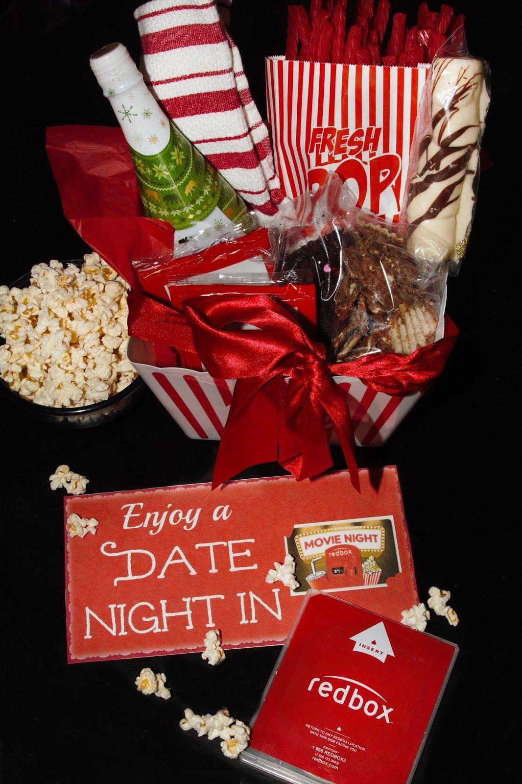 Diy date night in gift basket with redbox date night