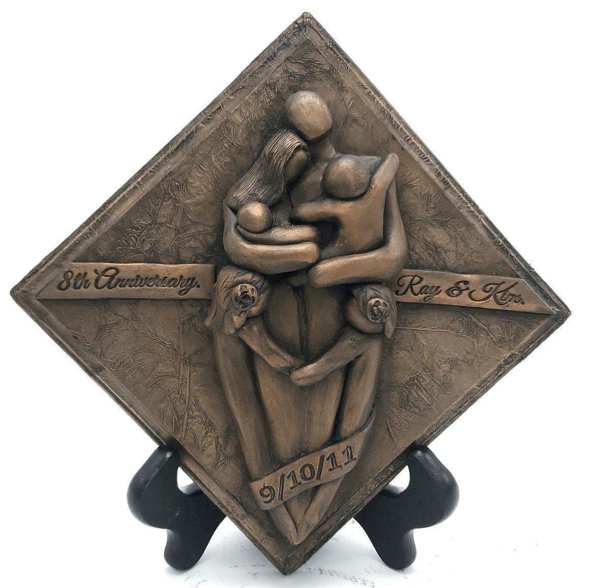 8th anniversary bronze plaque anniversary gift eighth