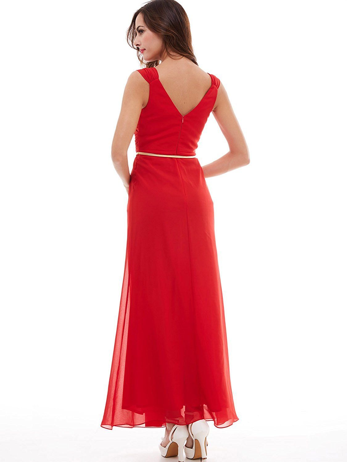 Tanpell Womens Double V Neck Pleats Ribbon Lace Floor Length Evening