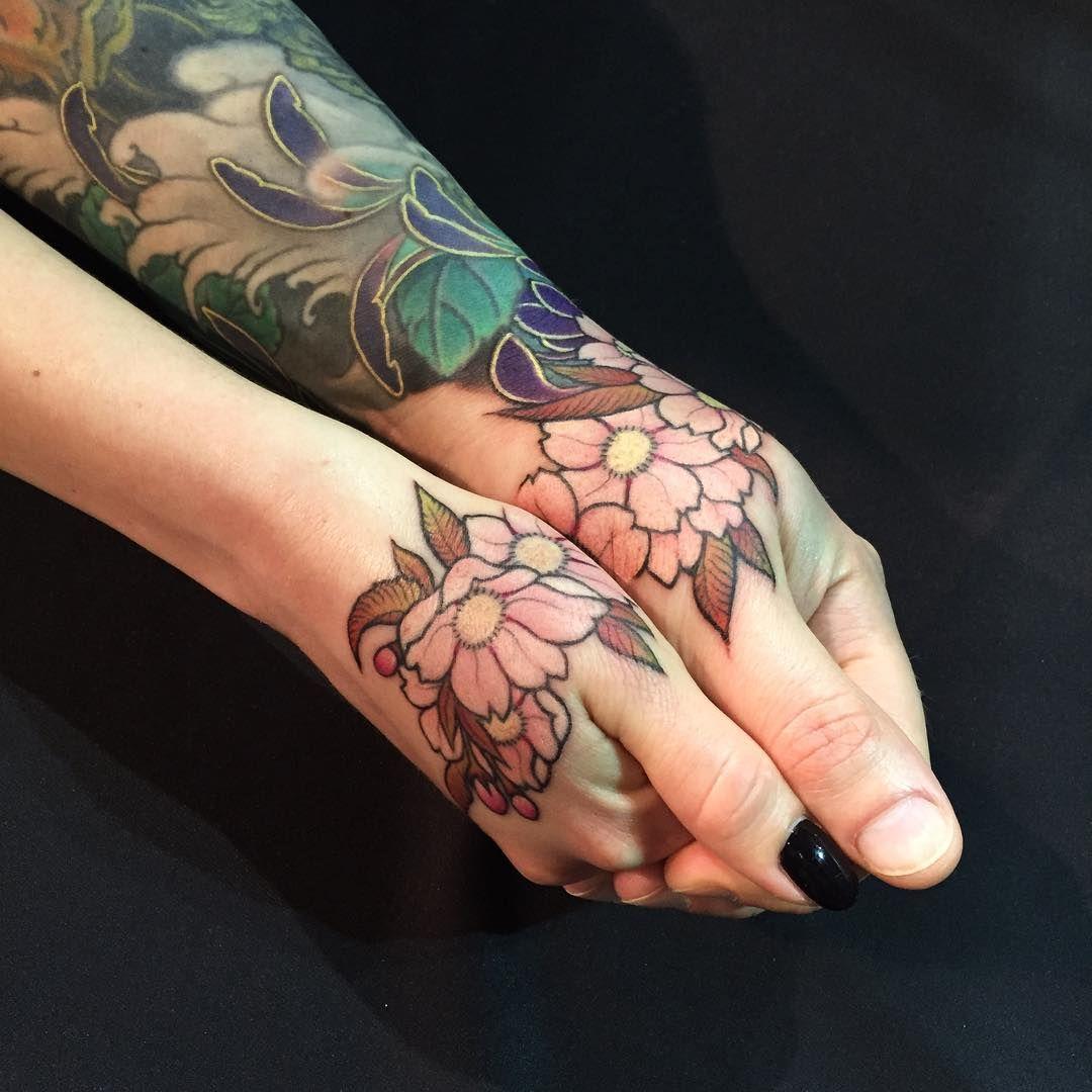 Matching Couple Tattoos Cherry Blossoms By Shige Yellow Blaze Tattoo Yokohama Japan Matching Couple Tattoos Couple Tattoos Tattoos