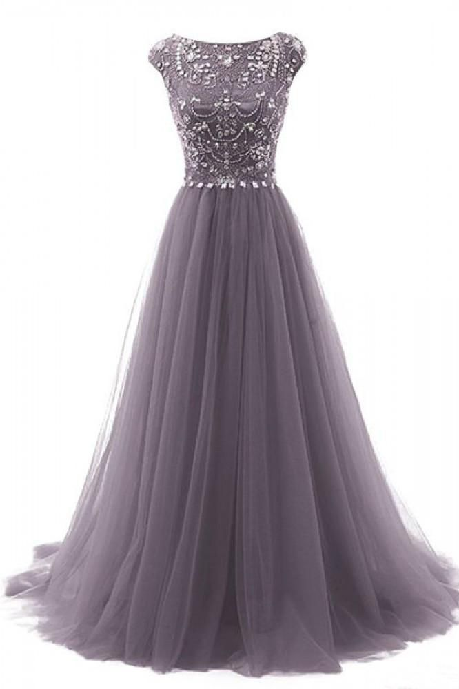 A-Line Floor-length Gorgeous Beading Bodice Long Tulle Prom Dresses Evening Dresses