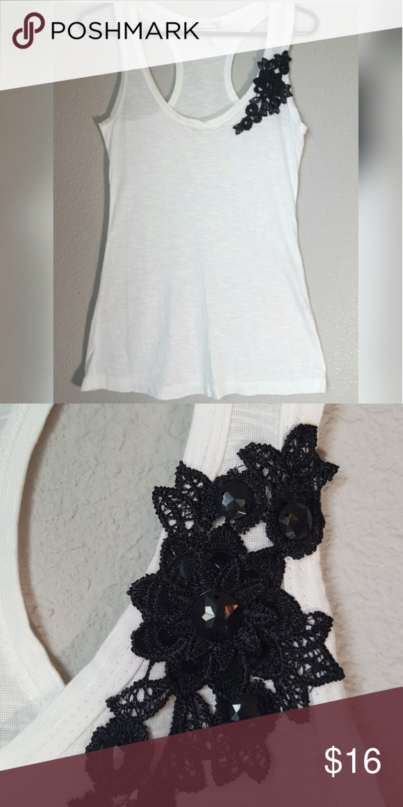 Body Central Tank Top NWOT Pretty white tank top with crocheted flowers and beads.  Super soft material.  100% rayon. Body Central Tops Tank Tops #crochettanktops