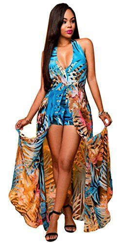 a88012fef56b Women V Neck Halter Floral Maxi Skirt Overlay Backless Romper Playsuit  Jumpsuit   See this great product.