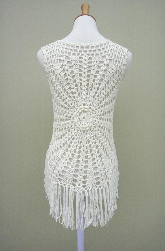 Fringe Crochet FLoral Sleeveless Cardigan Tie Front | Crochet ...
