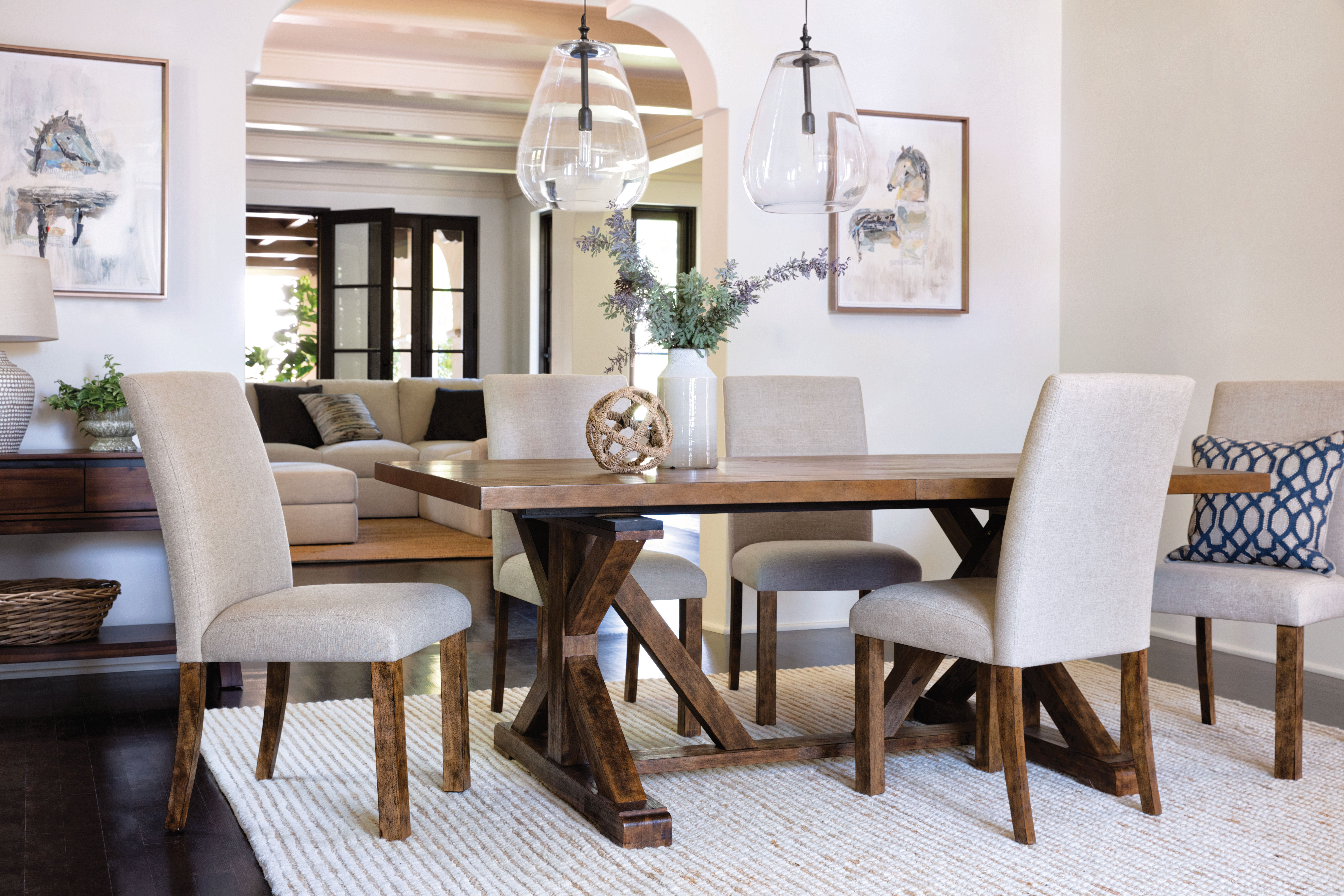 Chandler 7 Piece Dining Set Featuring Solid Acacia And Veneer In