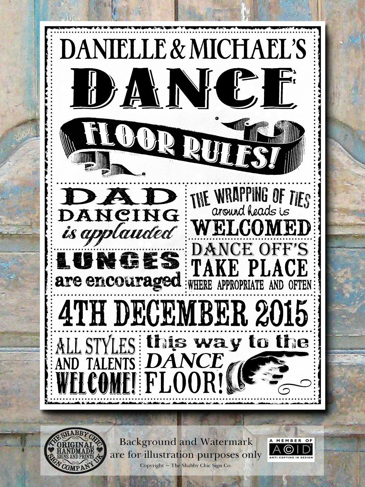 Personalised chalk rules of the dance floor sign banner any widescreen diy wedding and projects desktop hd