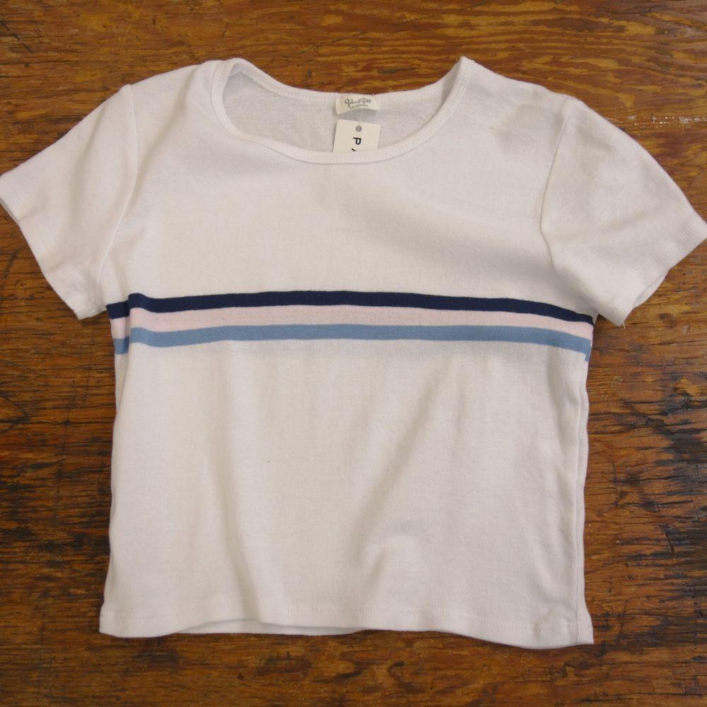 04aac78be39 New Womens John Galt White Pink Blue Striped Crewneck Crop Top One Size  Fits All #JohnGalt #CropTop #Summer