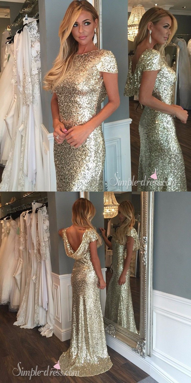 Sheath crew neck cap sleeveless sweep train gold sequins prom dress