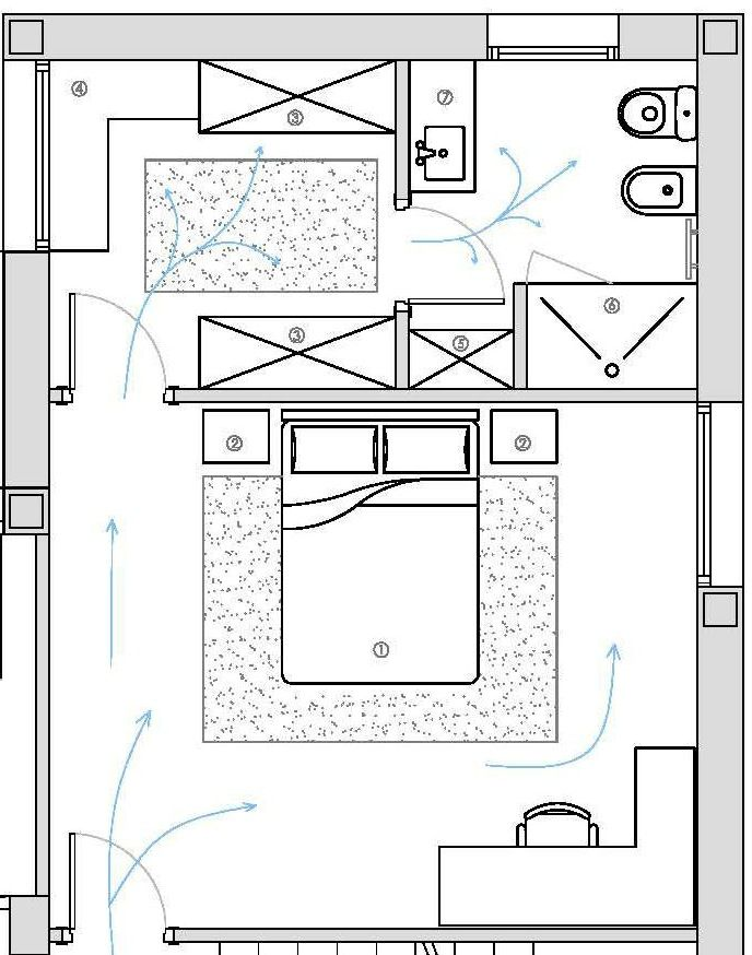 Distribucion De Dormitorio Vestidor Y Bano Planos De