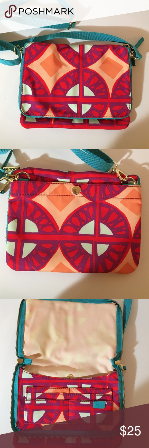 ❕FOSSIL Flat Crossbody❕ I've worn this maybe 2 times!!!! Such a great lightweight crossbody!! Such great colors + perfect for traveling! You can seriously take off the blue strap & make it a clutch! ❤️😊 Fossil Bags Crossbody Bags