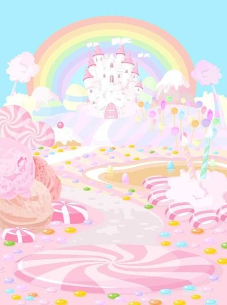 printed rainbow pink blue candy land castle backdrop 6151 in 2018