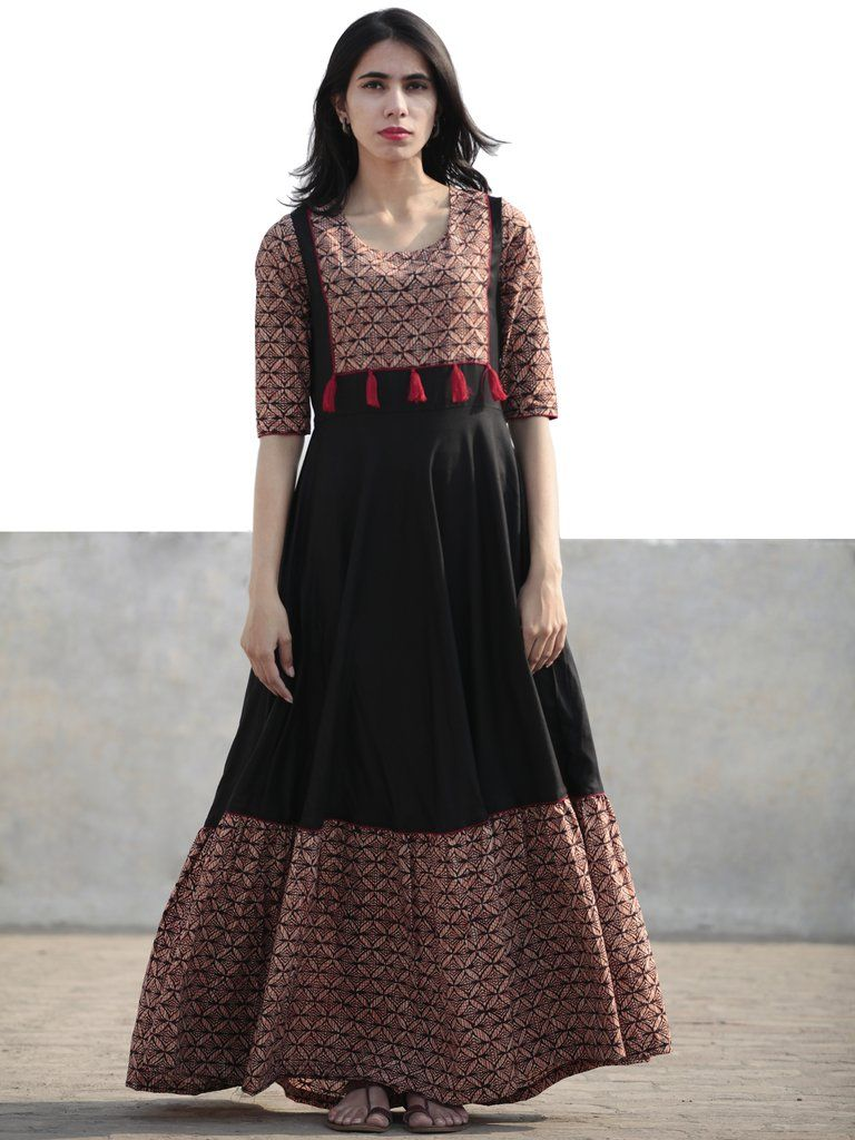 f70427184a Black Beige Red Orange Hand Blocked Long Cotton And Rayon Dress With Tassel  Details - D181F1075