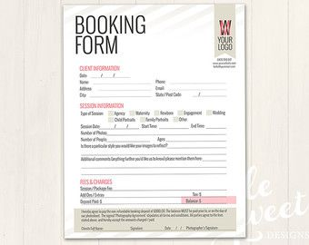 Photography Forms | Client Booking Form Template for Photographers ...