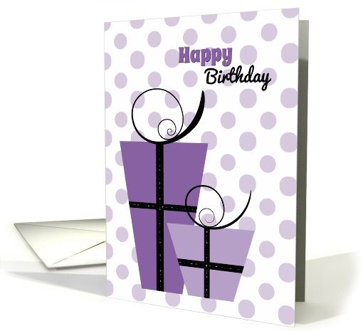 Purple gifts on a polka dot background birthday card purple gifts on a polka dot background birthday card greetingcarduniverse comjjbdesigns m4hsunfo