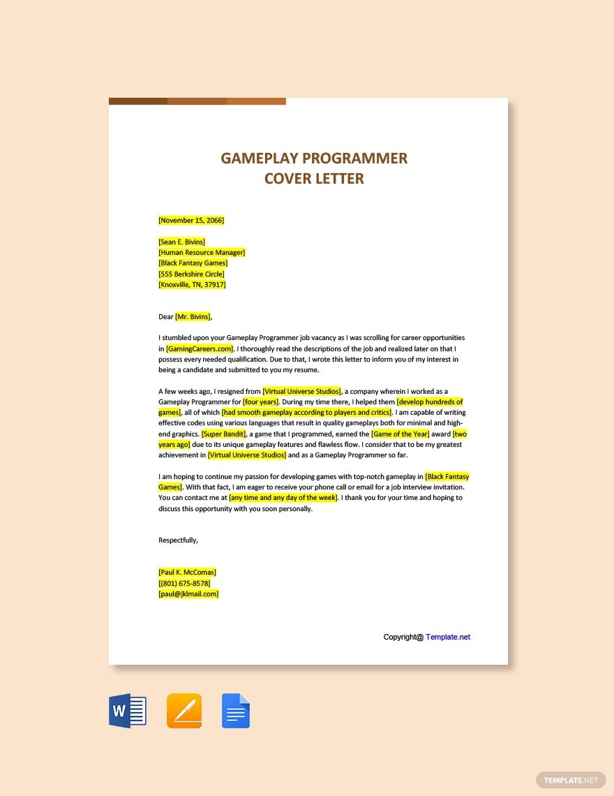 Free Gameplay Programmer Cover Letter Cover Letter Template