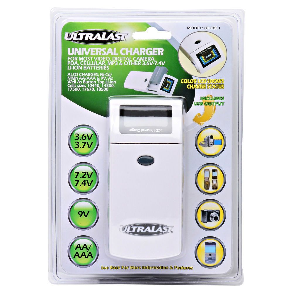 Universal Battery Charger For Cameras Cell Phone Pda Mp3 Aa Aaa 9v Nimh Nicd Ultralast Universal Battery Charger Battery Charger Charger