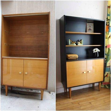 Belle association bois/peinture noire meuble en carton Pinterest - peindre une armoire en bois