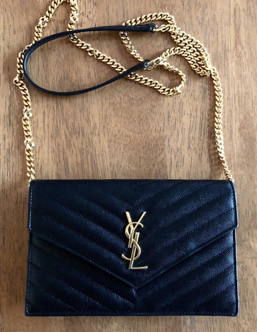 fb8868233076d YSL Envelope Chain Bag in Black Wallet on a chain Yves Saint Laurent Bag  Black bag