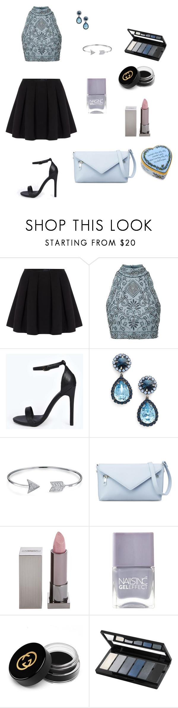 """ice"" by brindusoiu-georgiana on Polyvore featuring Polo Ralph Lauren, Boohoo, DANNIJO, Bling Jewelry, Lipstick Queen, Nails Inc., Gucci, Isadora and Halcyon Days"