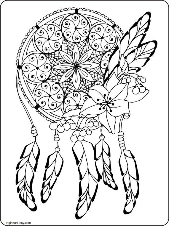 Dream Catcher Adult Coloring Page By Triginkart On Etsy Davlin Publishing
