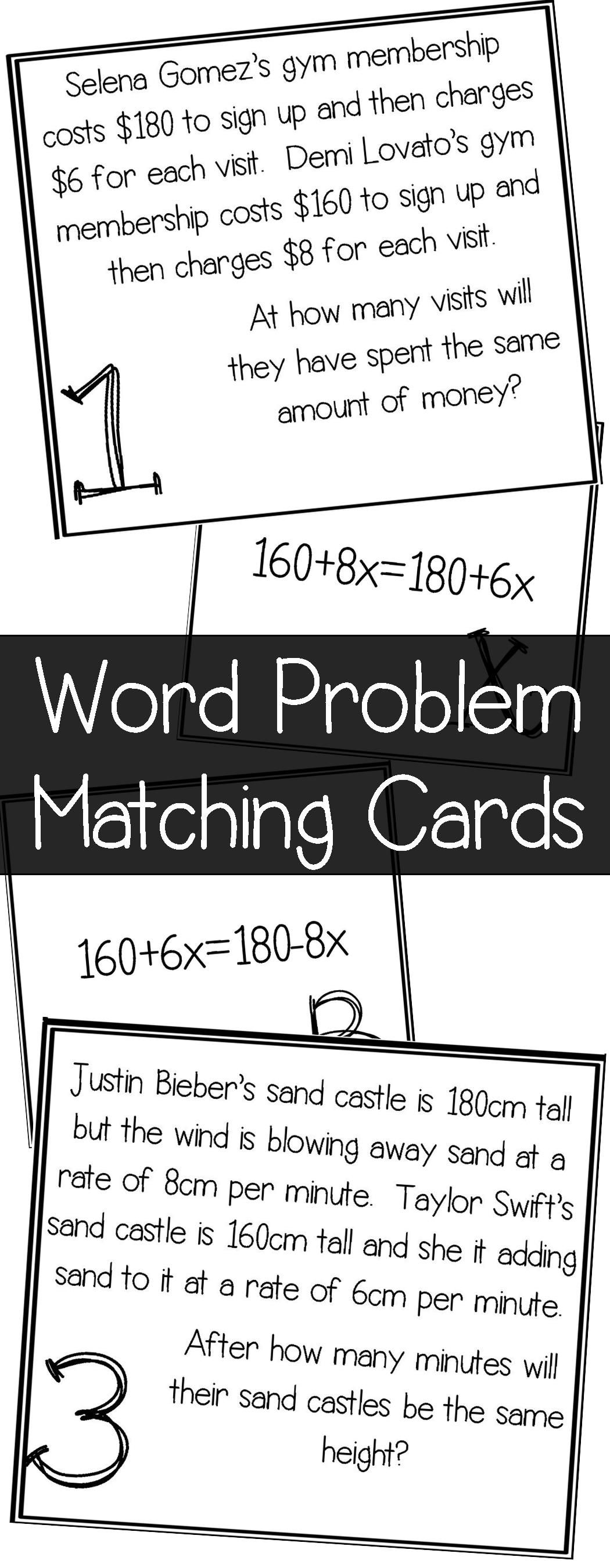 worksheet One Step Equation Word Problems equations with variables on both sides word problem matching cards cards