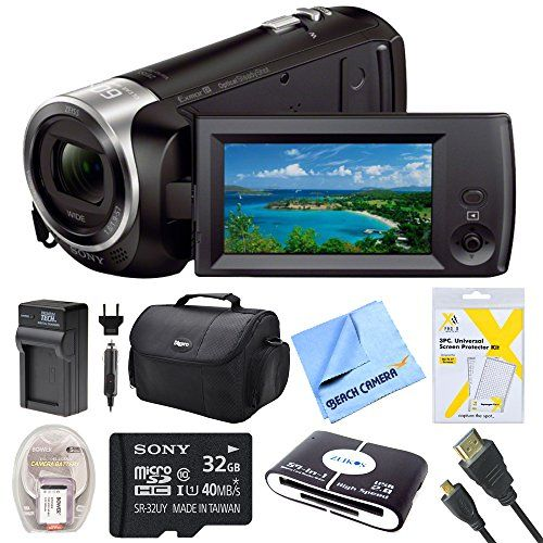 Sony Hdrcx405 Cx405 Video Recording Handycam Camcorder Bundle With Deluxe Bag 32gb Mico Sd Card Acdc Charger Hdmi Cable Battery Pack And More
