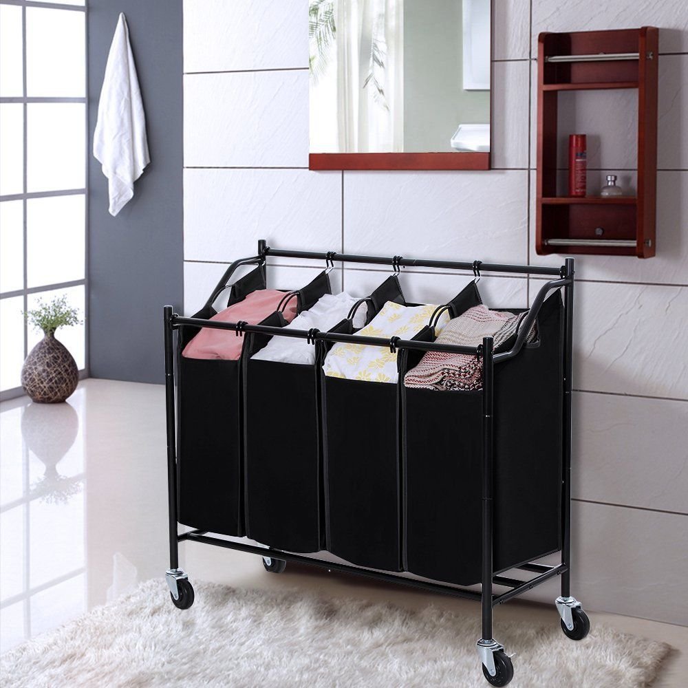Amazon.com: SONGMICS Heavy-Duty 4-Bag Rolling Laundry Sorter Storage Cart with Wheels Black URLS90H: Storage & Organization