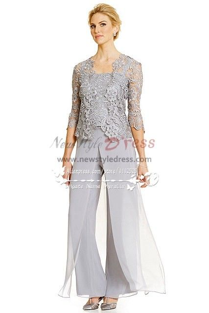 a011b4f01c0d Silver grey 3PC Pantset for Summer wedding Mother of the bride pant suits  with lace jacket nmo-272