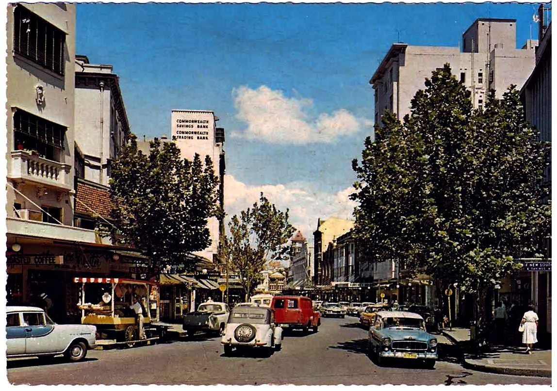 Looking south down Darlinghurst road from Springfield cnr, Wintergarden building on the right. Circa 1960 Kings Cross.